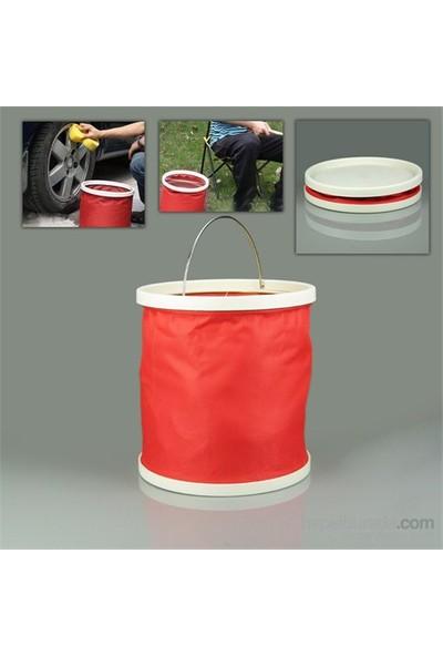 Buffer Su Sızdırmaz Kompakt Katlanabillir Kova Kırmızı