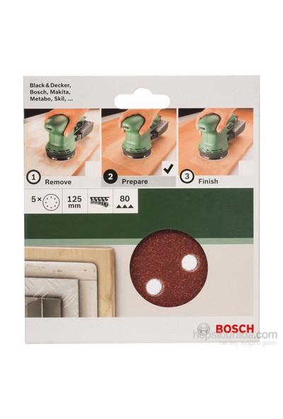 Bosch - Eksantirik Zımpara Kağıdı 5'Li, 125 Mm 80 Kum 8 Delik