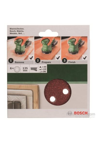 Bosch - Eksantirik Zımpara Kağıdı 6'Lı Set, 125 Mm 60/120/240 Kum 8 Delik