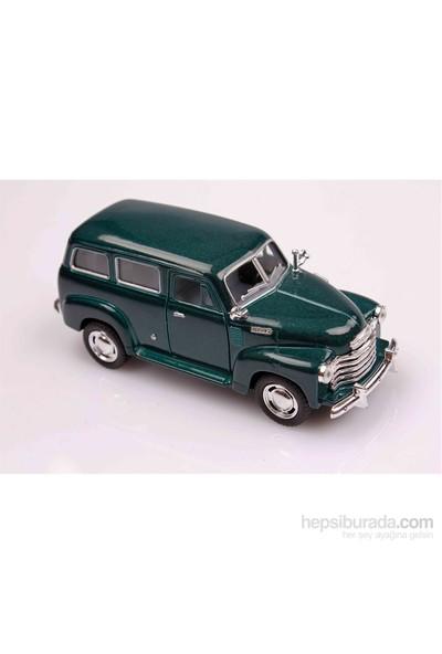 Yeşil 1950 Chevrolet Suburban 1/36 Çek Bırak Die-Cast Model Araç