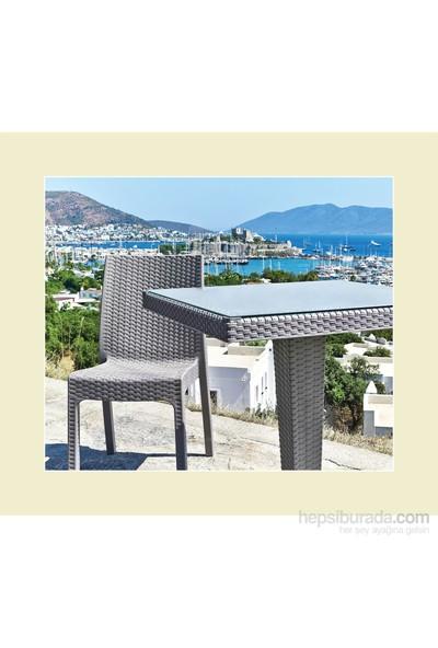 Holiday Rattan Plastik Oturma Grubu (90X90 Camlı Masa + 4 Rattan Sandalye) Rattan Sehpa Hediyeli