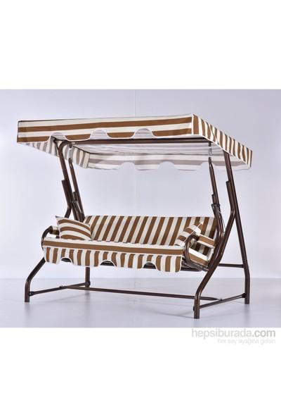 Erinöz Bahçe - Balkon - Teras Salıncağı , 3 Kişilik, 200 Cm, Ø60'lık Yatarlı Salıncak Bakır Renk (Panama Lüks Kumaş)