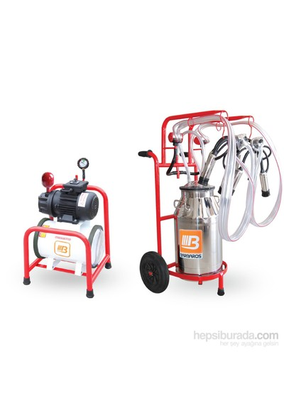 Barbaros Yarı Sabıt Süt Sağma Makinesi 70'Lik Kuru Pompa 40 L Krom Güğümlü