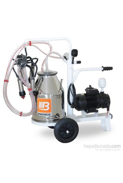 Barbaros T Model Tek Sağık Tek Güğüm Süt Sağma Makinesi 70'Lik Kuru Pompa 30 L Krom Güğümlü