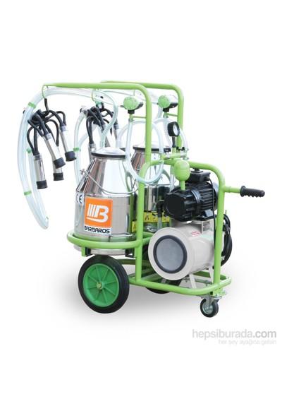 Barbaros Çift Sağım Çift Güğüm Süt Sağma Makinesi 70'Lik Kuru Pompa 30 L Krom Güğümlü