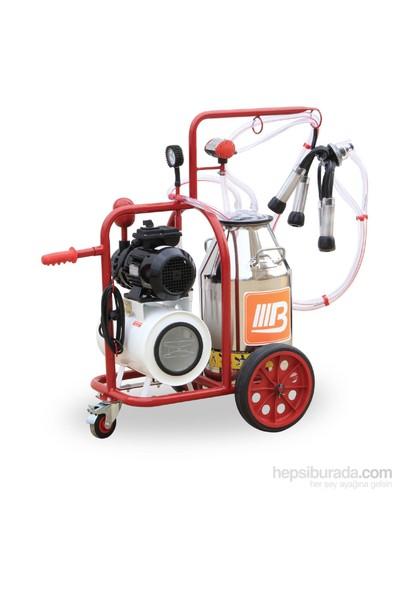 Barbaros Universal Model Tek Sağım Tek Güğüm Süt Sağma Makinesi 70'Lik Kuru Pompa 40 L Krom Güğümlü