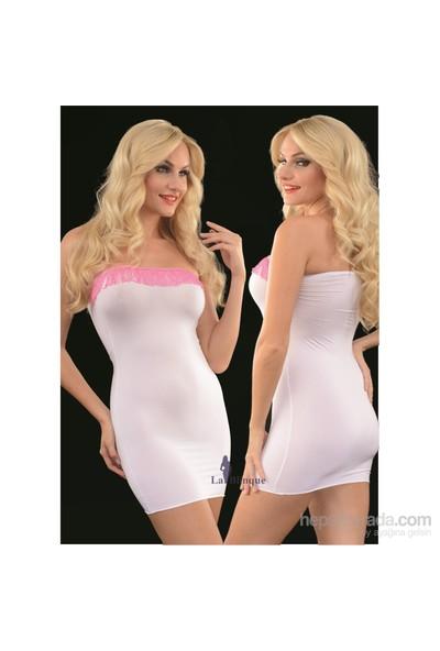 La Blinque Mini Pembe Püsküllü Beyaz Seksi Elbise