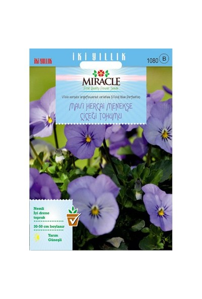 Miracle Tohum Blue Perfection Mavi Hercai Menekşe Çiçeği Tohumu (150 Tohum)