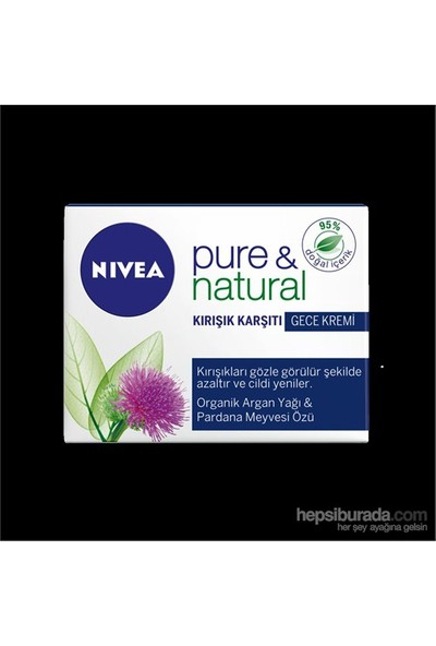 Nivea Visage Pure&Natural Kırışık Karşıtı Gece Kremi 50 Ml