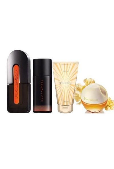 Avon Full Speed Erkek Parfüm + Incandessence Bayan Parfüm 4'Lü Set