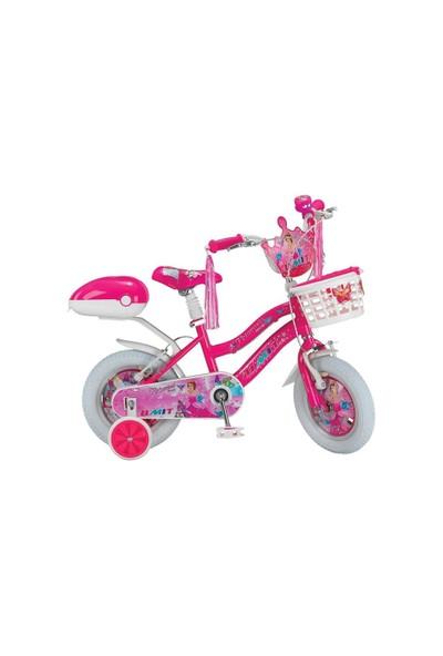 "Ümit 12"" Princess 1208 Çelik Kadro Sepetli V Fren 1 Vites Fuşya Kız Çocuk Bisikleti"