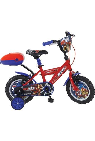 """Ümit 12"""" Redman 1206 Çelik Kadro V Fren 1 Vites Kırmızı Mavi Çocuk Bisikleti"""