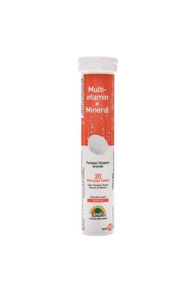 Sunlife Multivitamin + Mineraller 20 Tablet Şekersiz Gıda Takv.