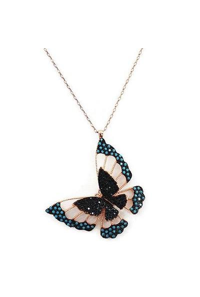 Beyazıt Takı 925 Ayar Gümüş Turkuaz Siyah Üç Boyutlu Kelebek Kolyesi