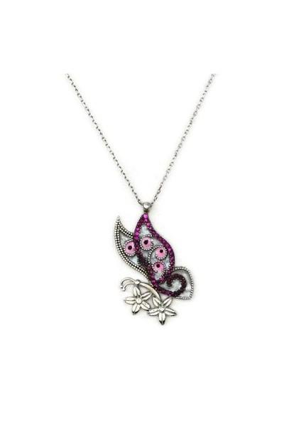 Beyazıt Takı 925 Ayar Gümüş Zirkon Pembe Taşlı Çiçekli Kelebek Kolyesi
