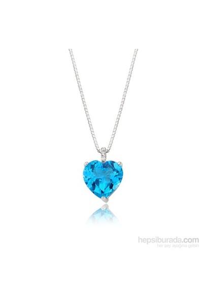 Diva Pırlanta Mavi Taşlı Kalp Kolye