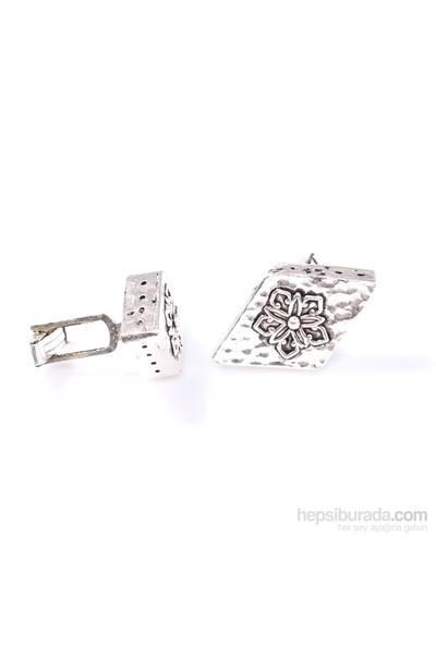 Nusrettaki 925 Ayar Gümüş Telkari Desenli Elişi Kol Düğmesi