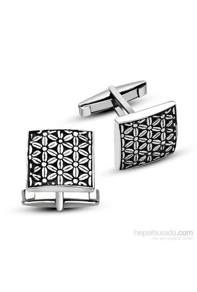 Tesbihane 925 Ayar Gümüş Çiçek Tasarımlı Kare Model Kol Düğmesi