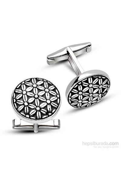 Tesbihane 925 Ayar Gümüş Çiçekli Kol Düğmesi