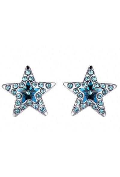 Monemel Swarovski® Taşlı Yıldız Açık Mavi Küpe