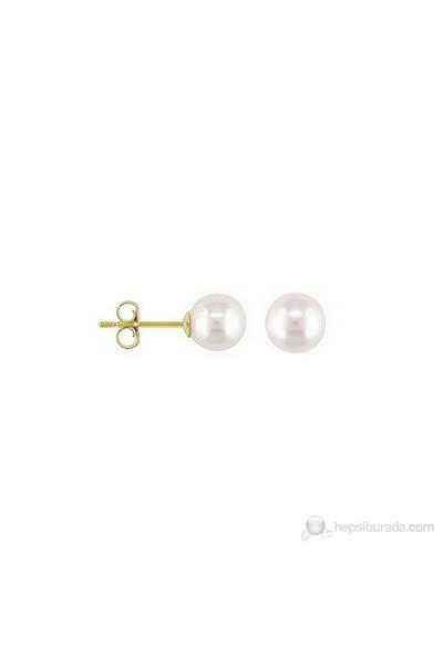 Goldstore 14 Ayar Altın 8 Mm Beyaz İnci Küpe Pje17203