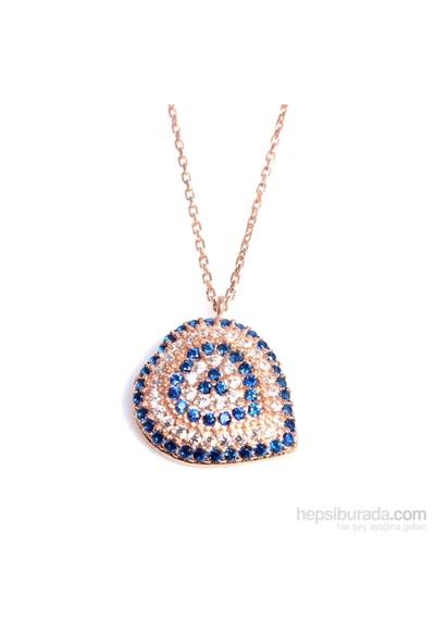 Nusrettaki 925 Ayar Gümüş Nazar Kalp Kolye Pembe - Beyaz Mavi Taş
