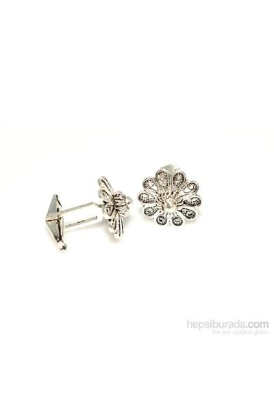 Nusrettaki 925 Ayar Gümüş Çiçek Modeli Kol Düğmesi