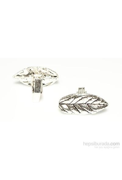 Nusrettaki 925 Ayar Gümüş Yaprak Modeli Kol Düğmesi, Büyük