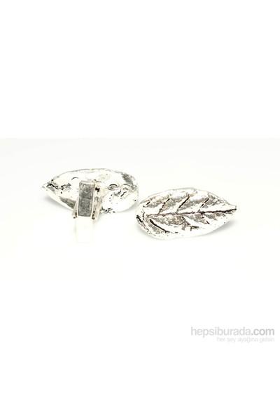 Nusrettaki 925 Ayar Gümüş Yaprak Modeli Kol Düğmesi