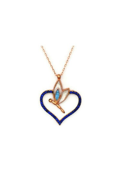 Beyazıt Takı 925 Ayar Gümüş Mavi Kalpli Yusufçuk Kolyesi