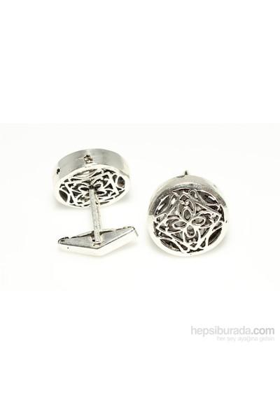 Nusrettaki 925 Ayar Gümüş Ajor Desenli Yuvarlak Kol Düğmesi
