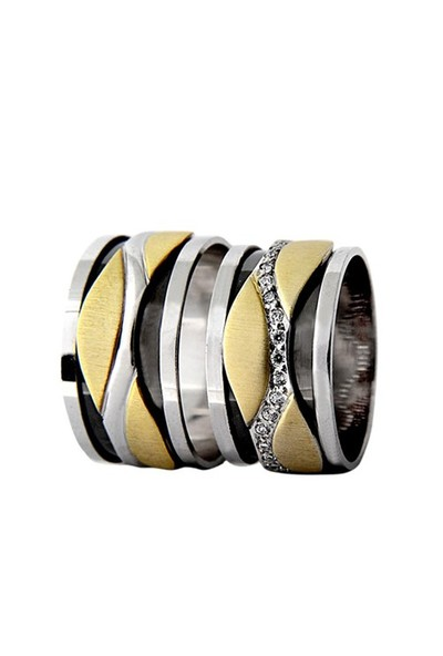 Arjuna Gümüş Tek Taş El İşi Çift Alyans Al1011