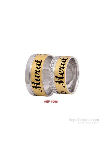 Arjuna Gümüş Tek Taş El İşi Çift Alyans Al1066