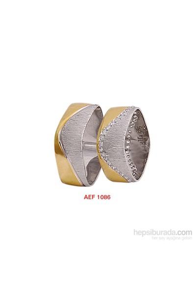 Arjuna Gümüş Tek Taş El İşi Çift Alyans Al1086