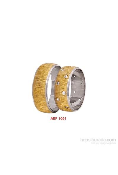 Arjuna Gümüş Tek Taş El İşi Çift Alyans Al1091