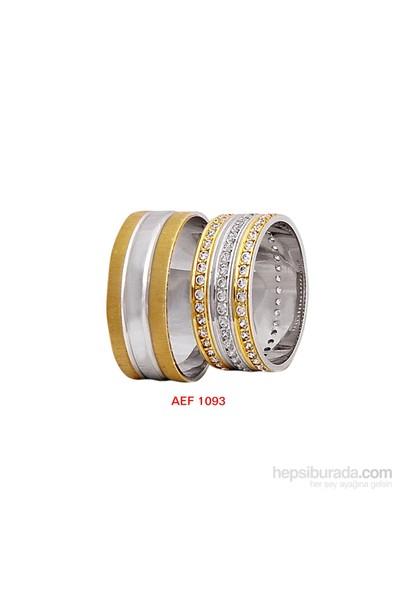 Arjuna Gümüş Tek Taş El İşi Çift Alyans Al1093
