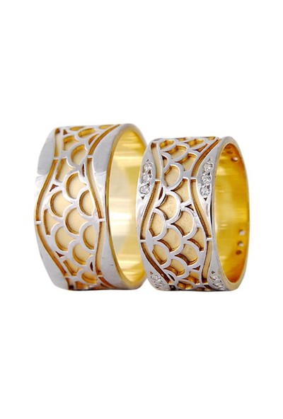 Arjuna Gümüş Tek Taş El İşi Çift Alyans Al1106