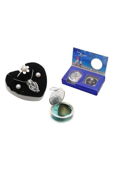 Buffer Love Pearl İstiridye İnci Kolye Küpe Yüzük Set