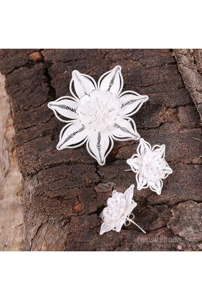 Sanal Kuyumculuk 925 Ayar Gümüş Telkari Broş - Küpe Set Takı