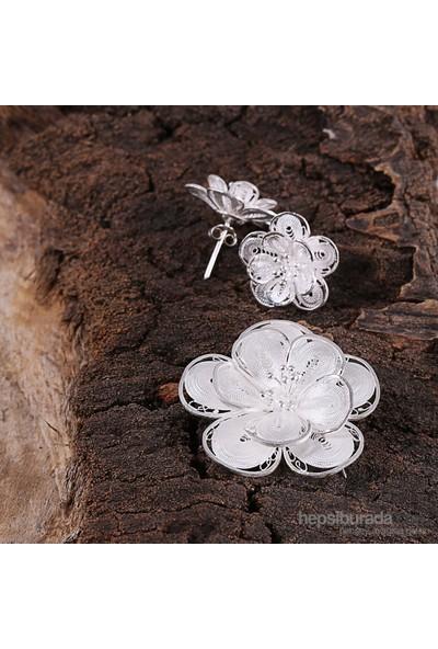 Sanal Kuyumculuk 925 Ayar Gümüş Telkari Küpe,Broş Takı Seti
