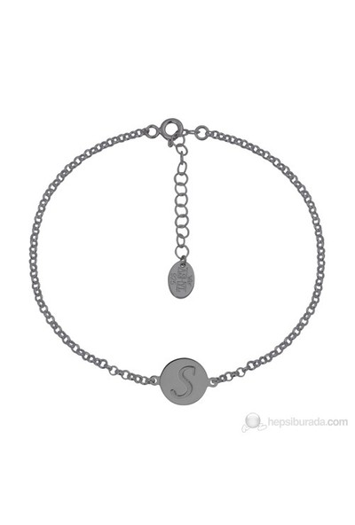 Ashyl Harfli Zincir Bileklik, Yuvarlak Gümüş Bileklik Hyl3506