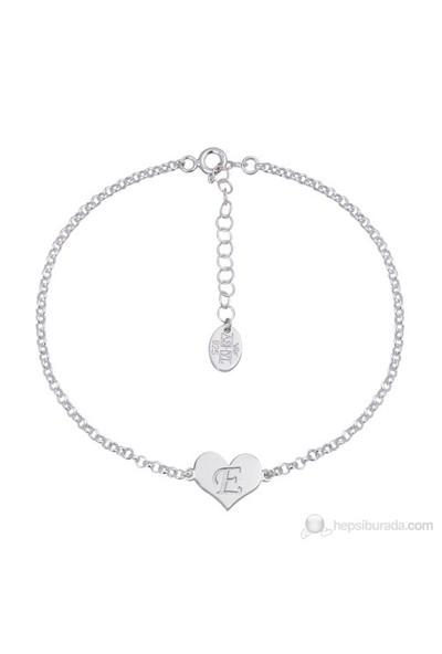 Ashyl Harfli Zincir Bileklik, Kalpli Gümüş Bileklik Hyl3507
