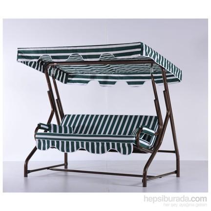 Erinöz Bahçe Balkon Teras Salıncağı 2 Kişilik 170 Cm ø51lik Sabit Salıncak Bakır Renk Standart Kumaş
