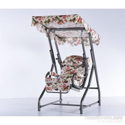Erinöz Bahçe Balkon Teras Salıncağı Tek Kişilik 100 Cm ø51lik Yatarlı Salıncak Gümüş Renk Standart Kumaş