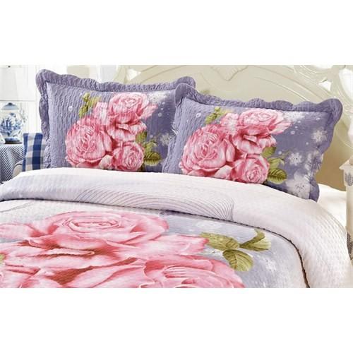 Cotton House Home Collection Çift Kişilik 3D Yatak Örtüsü - Pink Rose