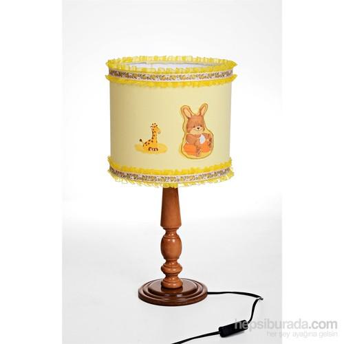 Bebemia El-Yapımı Bebek Odası Abajuru - Sarı Tavşan - Kahve Ahşap Ayaklı