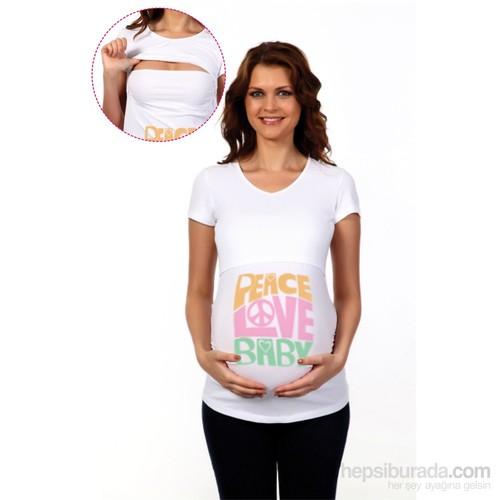 Happy Milk Overlappy Kısa Kollu Hamile Ve Emzirme Tişörtü Peace Love Baby