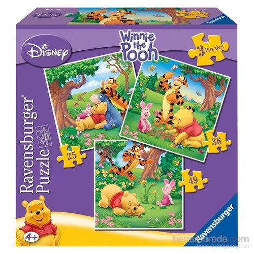 Ravensburger WD-Winnie The Pooh - 25,36,49 parçalı 3 in a box
