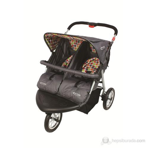 Baby Max Fitta İkiz Jogger Bebek Arabası / Gri Puanlı