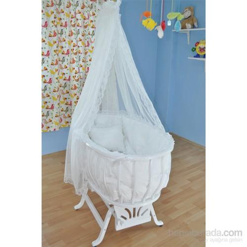 Bebekonfor Beyaz Sepet Beşik Beyaz Fransız Dantel